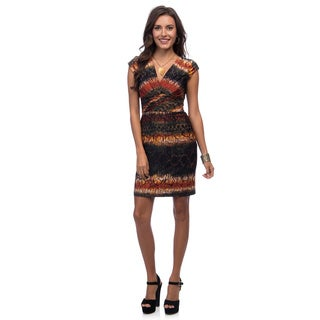 Marc New York Women's Multicolored Abstract Print Surplice Dress