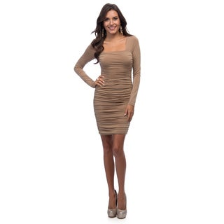 Marc New York Women's Camel Ruched Long Sleeve Dress