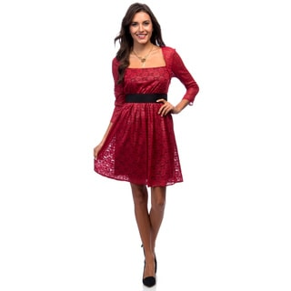 Marc New York Poinsettia Red Raglan 3/4 Sleeve Dress