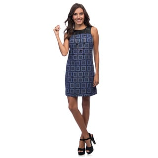 Marc New York Women's Purple Geometric Printed Short Dress