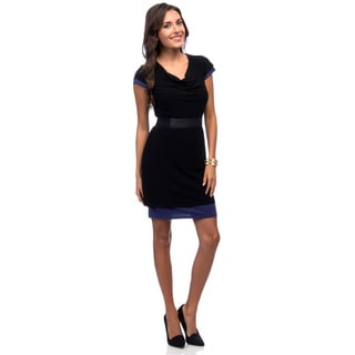 Marc New York Women's Black Cap Sleeve Belted Dress
