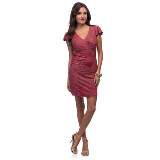 Marc New York Women's Red Flutter Sleeve V-neck Dress