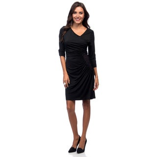 Marc NY 3/4 Sleeve Sequin Trim Evening Dress