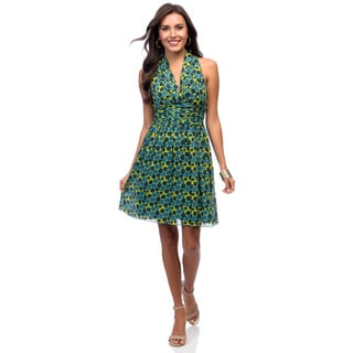 Marc New York Women's Lime Green and Blue Polka-dot Halter Dress