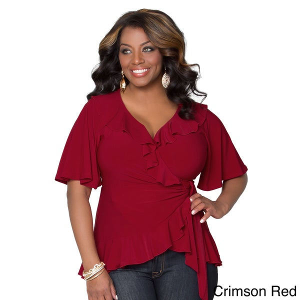 Kiyonna women 39 s plus size whimsical wrap top 16377947 for Top rated boutiques