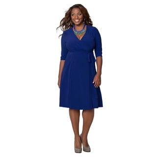 Kiyonna Women's Plus Size Cobalt Blue Essential Wrap Dress