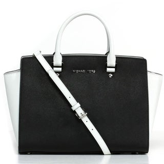 MICHAEL Michael Kors 'Selma' Large Black & White Satchel