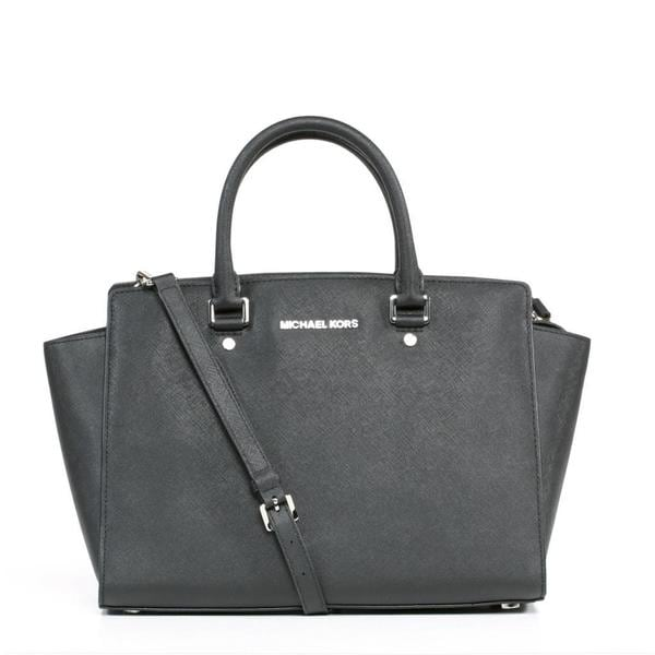 MICHAEL Michael Kors 'Selma' Large Black Satchel with Silver Hardware