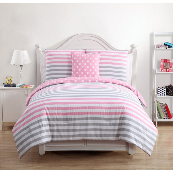 Kayla Kids Pink/Grey Cotton 4-piece Comforter Set