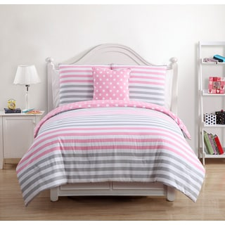 Kayla Kids Pink/Grey Cotton 4-piece Comforter Set