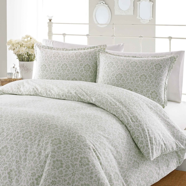 Laura Ashley Jayden Sage Flannel 3-piece Duvet Cover Set