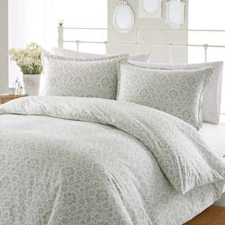 Laura Ashley Jayden Sage Flannel Duvet Cover Set