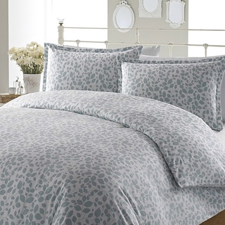 Laura Ashley Leaves Aqua Flannel 3-piece Duvet Cover Set