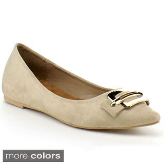 Wildrose Women's 'Opal02' Slip-on Metallic Buckle Ballet Flats