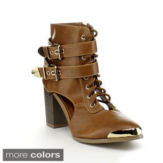 Bumper Women's 'Darleen04' Metallic Toe Chunky Ankle Boots