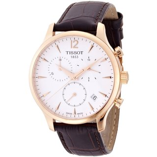 Tissot Goldtone Men's T063.617.36.037.00 Leather Strap Tradition Chronograph Watch