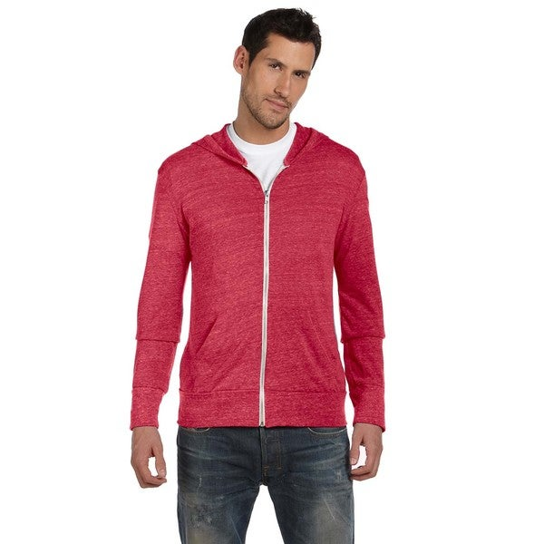 Alternative Men's Red Eco Long-sleeve 4.4-ounce Zip Hoodie
