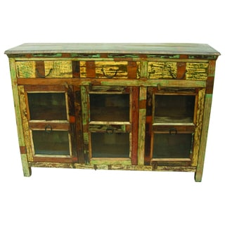 Beech Buffet with 3 Drawers and 3 Glass Doors