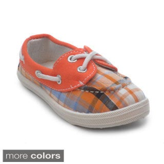 Blue Infant's Boaty Plaid Slip-on