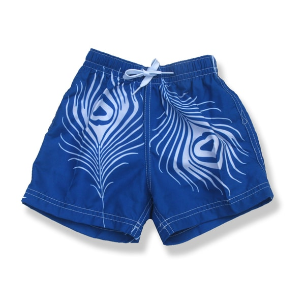 Azul Swimwear Boys Blue Feather Print Swim Shorts