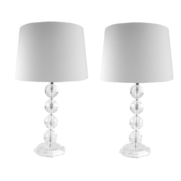 Clear Acrylic Stacked Globe Table Lamps (Set of 2)