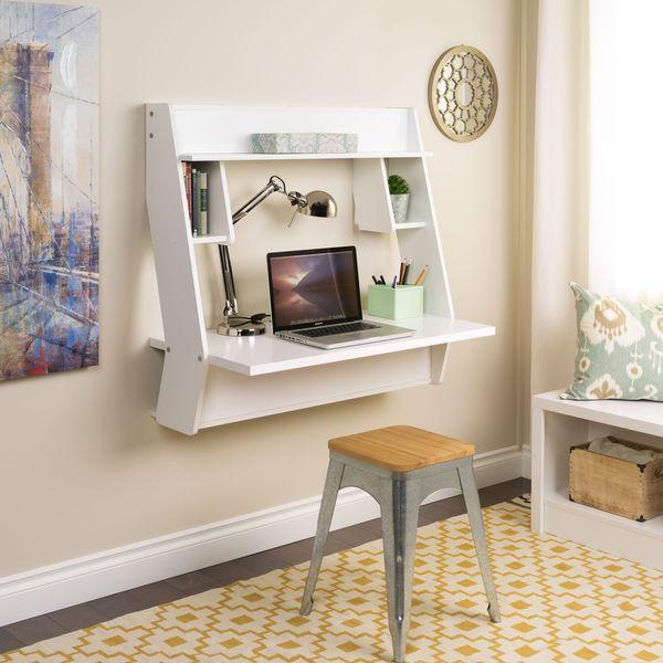 Winslow White Modern Floating Desk 16378190 Overstock