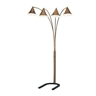 Signature Design by Ashley Elaine Goldtone and Silvertone 4-arm Metal Floor Lamp