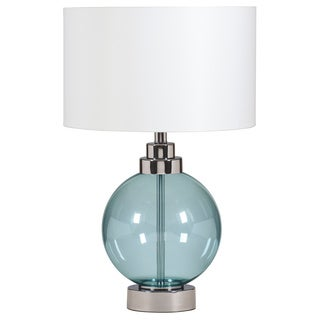 Signature Design by Ashley Reece Blue/ Chrome Glass Table Lamp (Pack of 2)