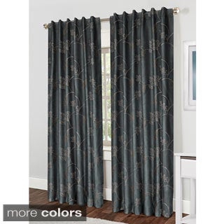 Cantebury Embroidered Faux Silk Hidden Tab Curtain Panel Pair