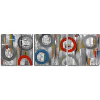 Hand-painted 'Rings in Grayscale' 3-piece Canvas Set
