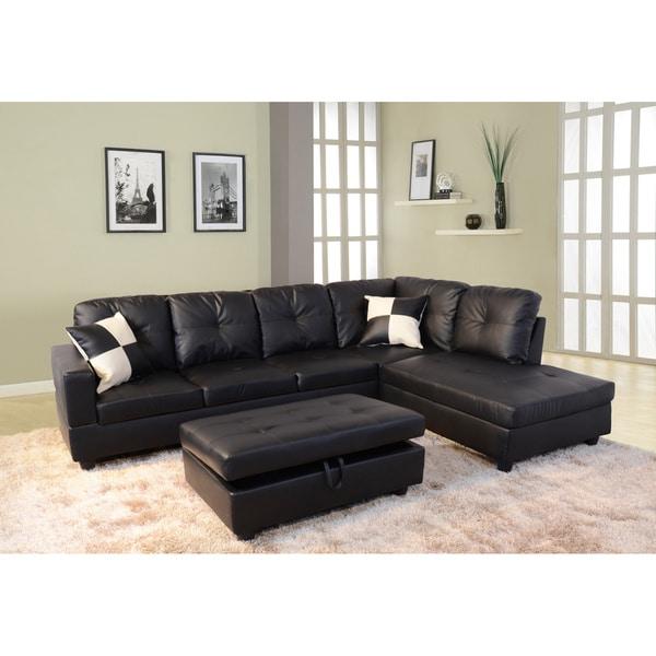 Delma 3 piece faux leather right chaise sectional set for 3 piece leather sectional sofa with chaise