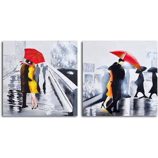 Hand-painted 'Under the Red Umbrella' 2-piece Canvas Set