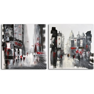 Hand-painted 'Two Sides of the Same City' 2-piece Canvas Set