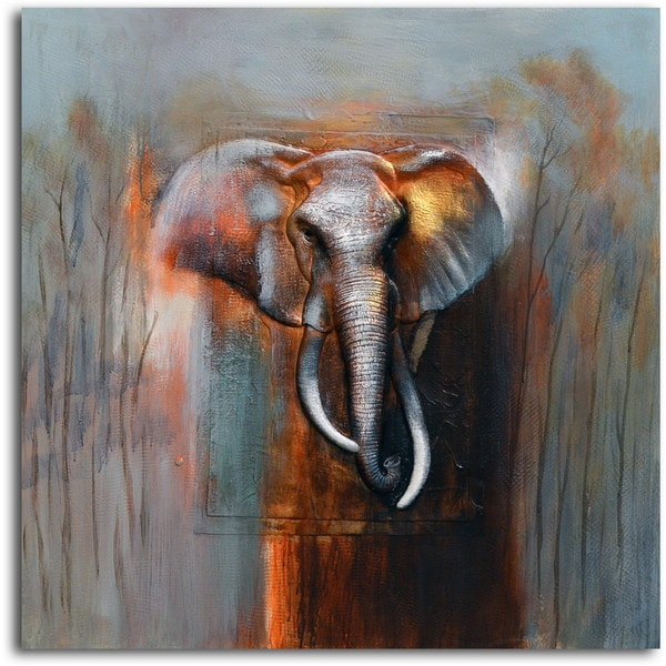 Hand-painted 'Ivory in Limbo' Canvas Wall Art