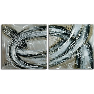 Hand-painted 'Swept Away' 2-piece Metal Canvas Set