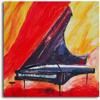 Hand-painted 'Pianist in Absentia' Canvas Wall Art