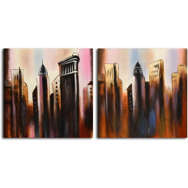 Hand-painted 'Work in Progress' 2-piece Canvas Set