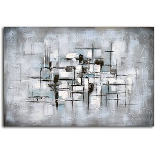 Hand-painted 'Obscured View' Canvas Wall Art