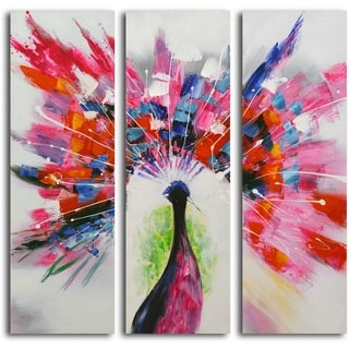 Hand-painted 'Prismatic Peacock' 3-piece Canvas Set