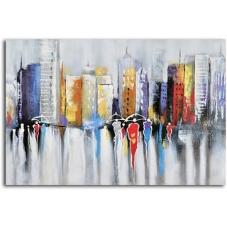 Hand-painted 'High Rise Low Reign' Canvas Wall Art