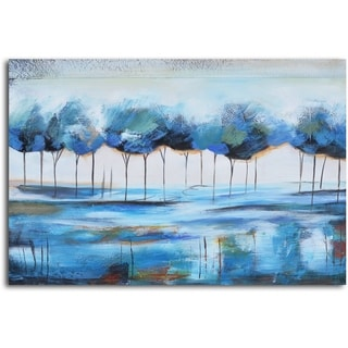 Hand-painted 'True Blue Reflections' Canvas Wall Art