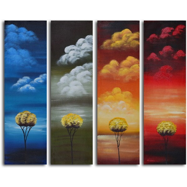 Hand-painted 'Many Moods of Solitude' 4-piece Canvas set