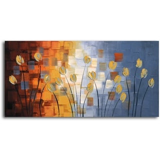Hand-painted 'Tendrils of Tulips' Oil Painting on Canvas