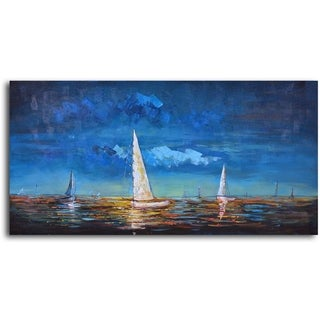Hand-painted 'Sailing at Dusk' Oil Painting on Canvas