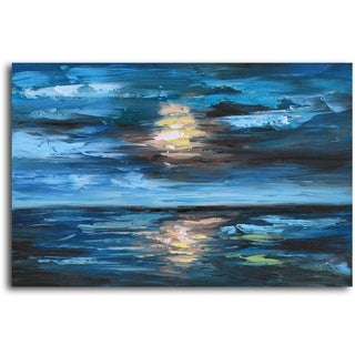 Hand-painted 'Setting Sun over Undulating Seas' Oil Painting on Canvas