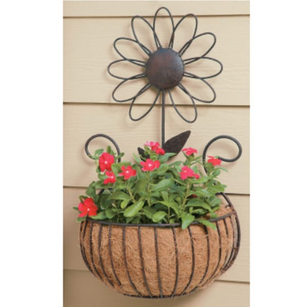 Deer Park Metal Daisy Wall Basket with Coco Liner