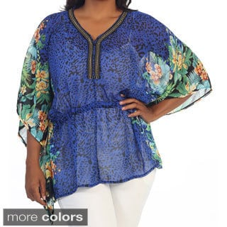Hadari Women's Plus Size Floral Motif Dolman-sleeve Top