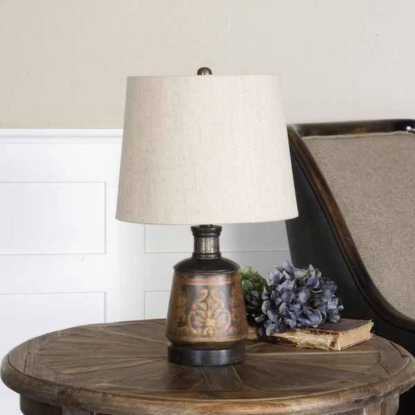 Uttermost Mela Hand-painted Black and Gold Terracotta Table Lamp