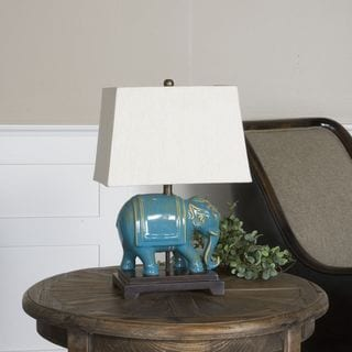 Uttermost Pradesh Distressed Blue Ceramic Elephant 1-light Table Lamp