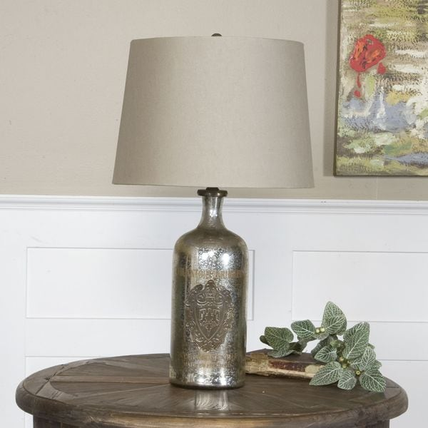Uttermost Borel Glass and Brass 1-light Table Lamp
